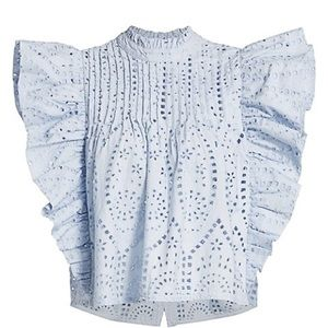 GANNI Broderie Anglaise Ruffle Top